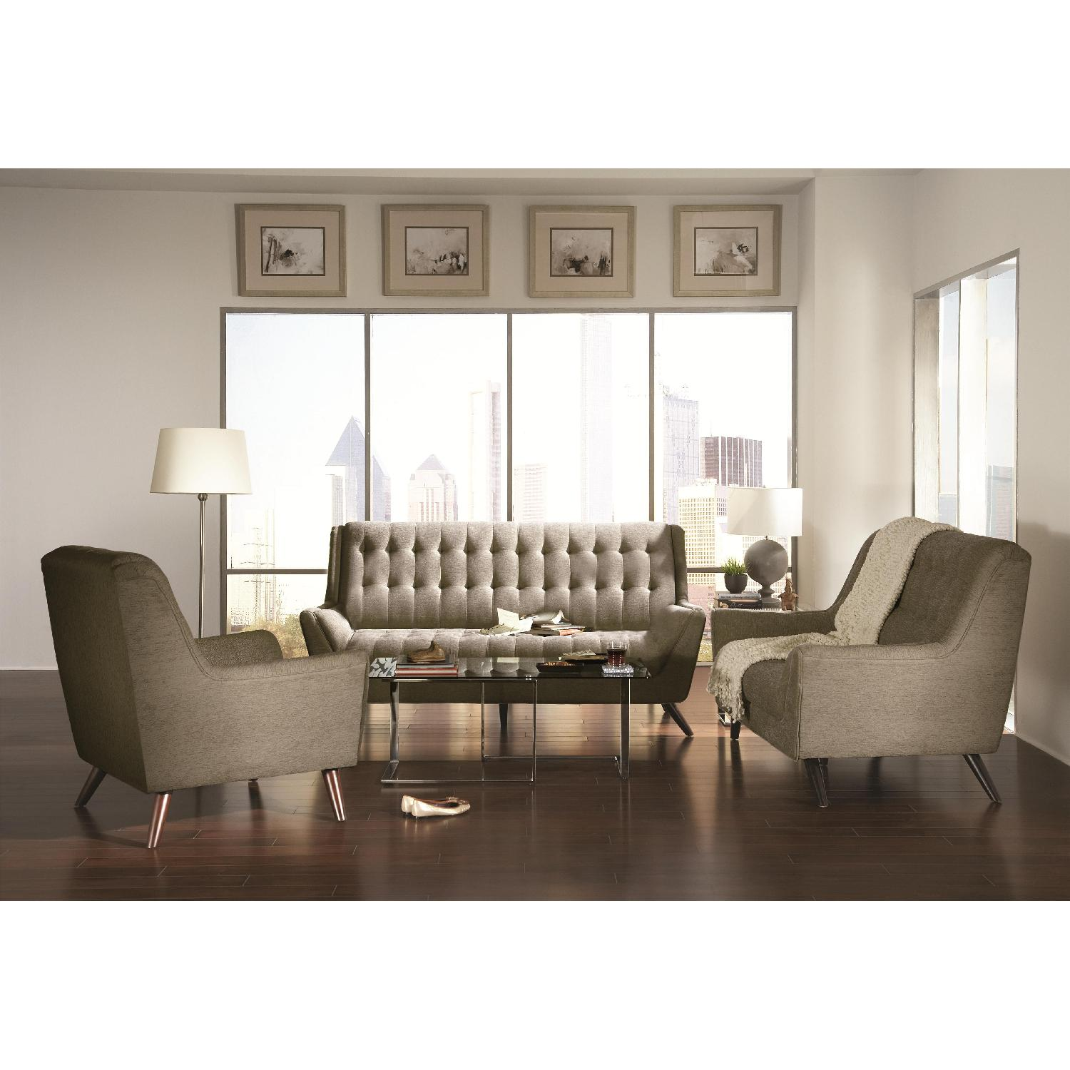 Modern Retro Chair in Light Grey Chenille Fabric - image-2
