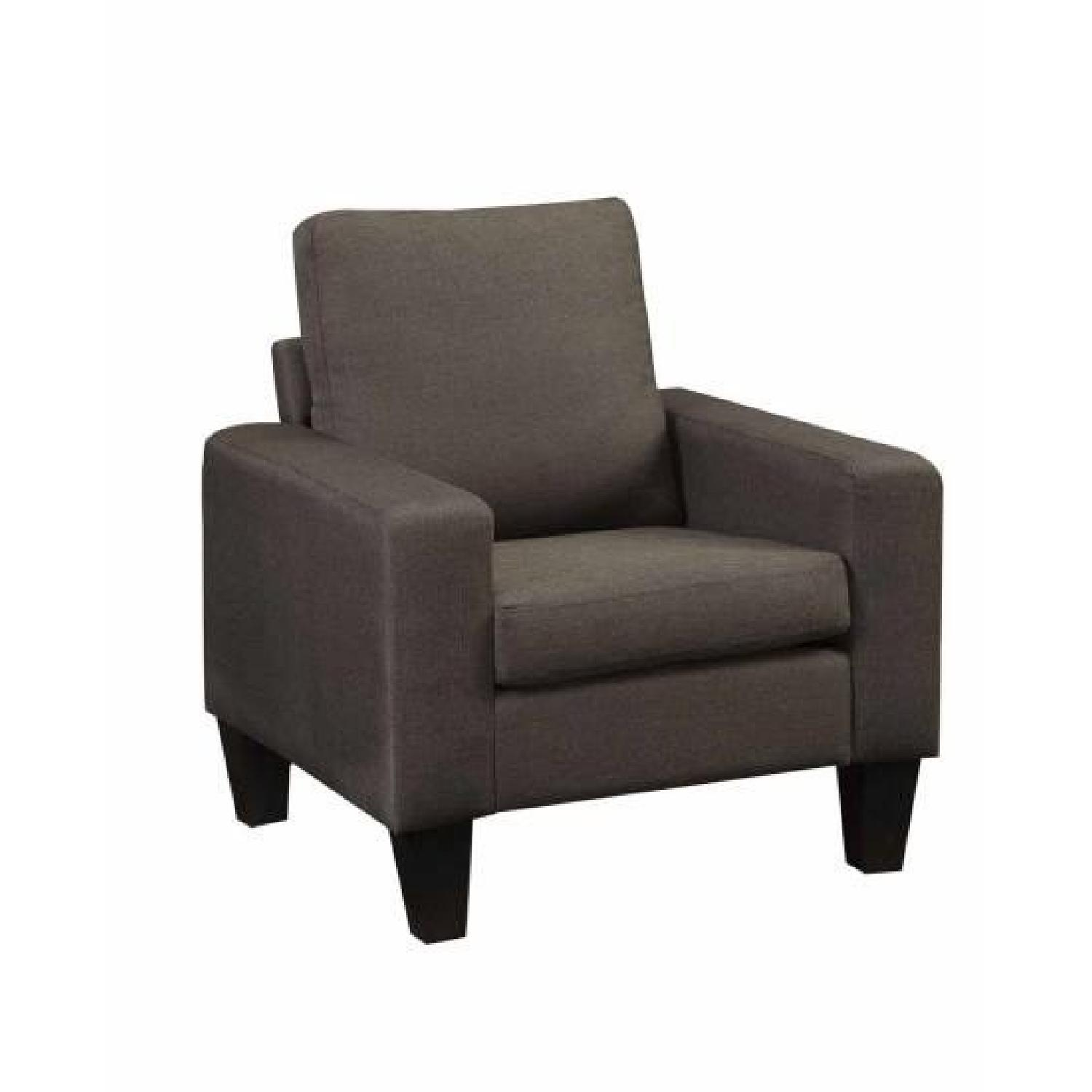 Arm Chair in Grey Linen Fabric - image-0