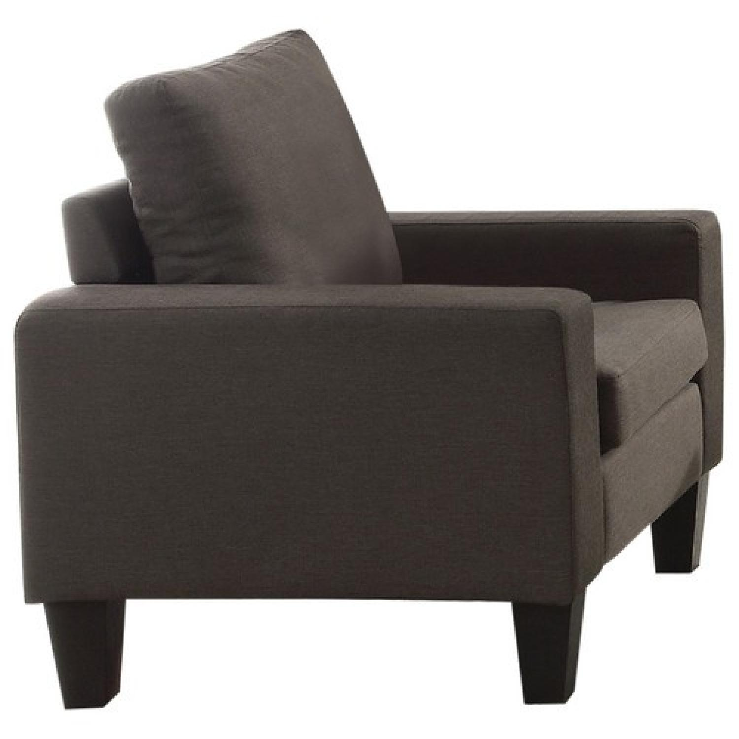 Arm Chair in Grey Linen Fabric - image-1