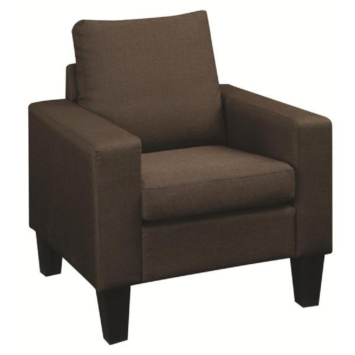Arm Chair in Brown Linen Fabric