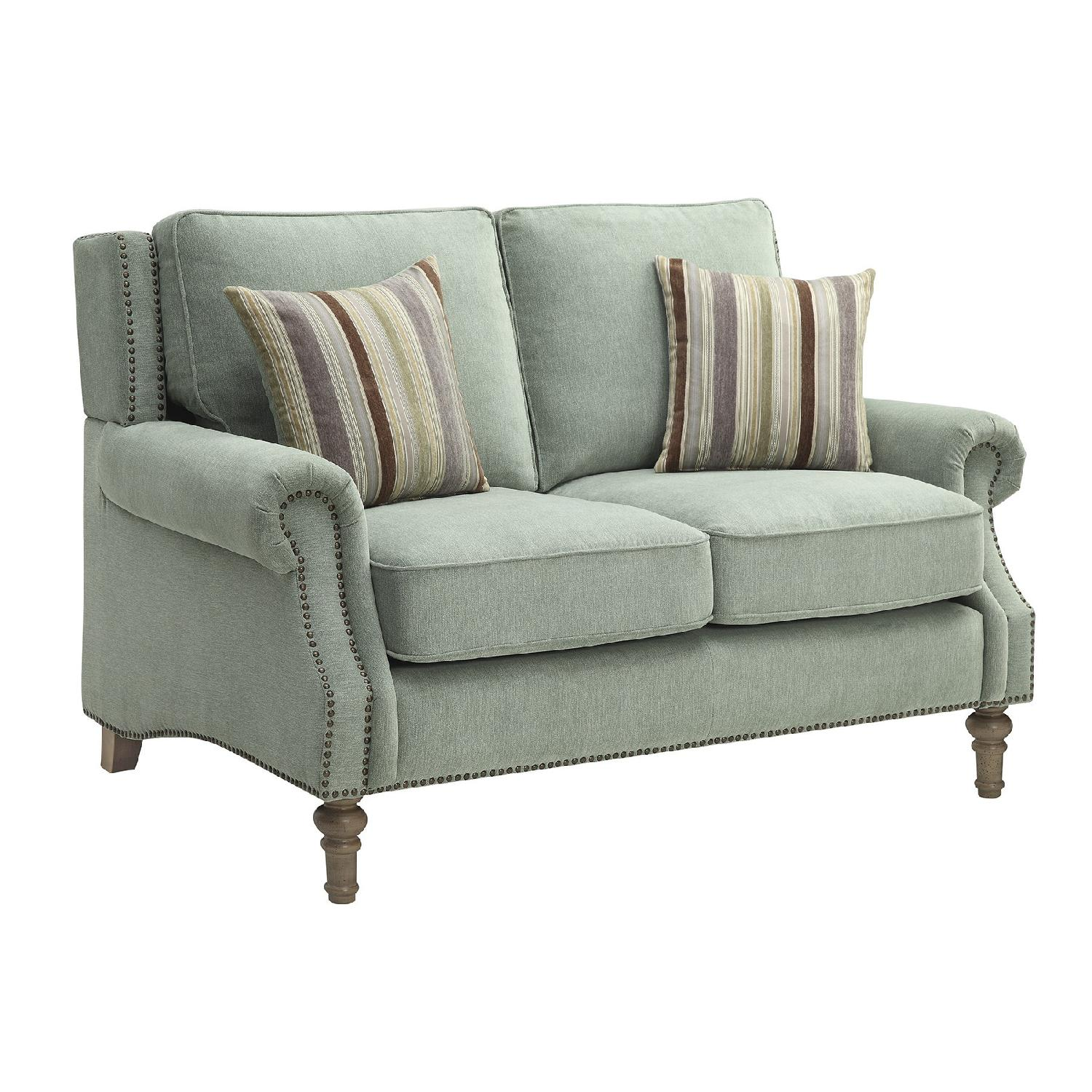 Loveseat in Sage Microvelet Fabric w/ Nailhead Trim & Feather Blend Cushions & Accent Pillows