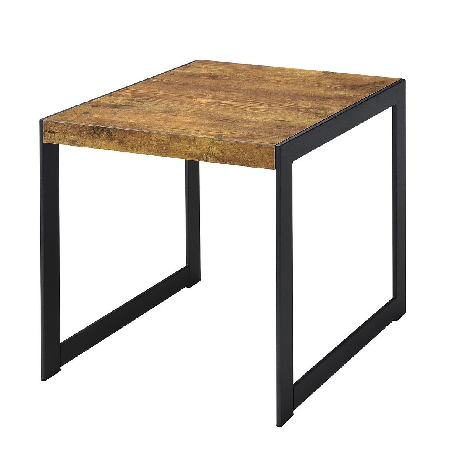 Rustic Style Side Table In Antique Nutmeg Finished Top & Gunmetal Frame