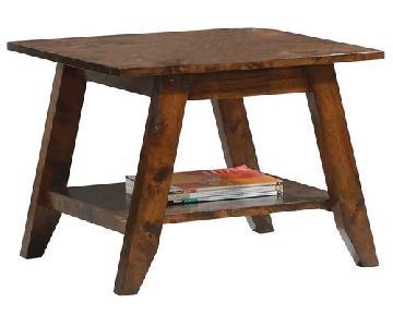 Mid Modern Style Side Table w/ Raw Wood Organic Feel & Stora