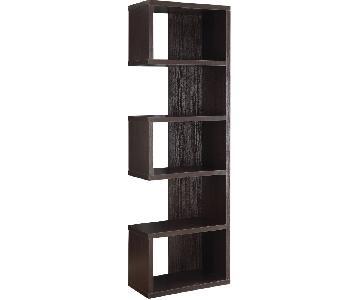 Semi-Backless Bookcase in Cappuccino Finish