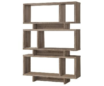 Contemporary Weather Grey Finish Open Bookcase