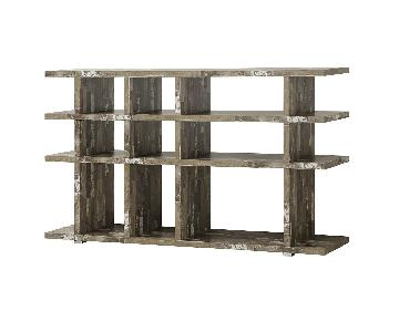 Contemporary Style Bookcase in Salvaged Cabin Style Wood Ven