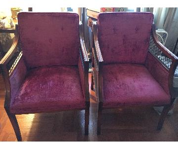 Antique Red Velvet Chairs