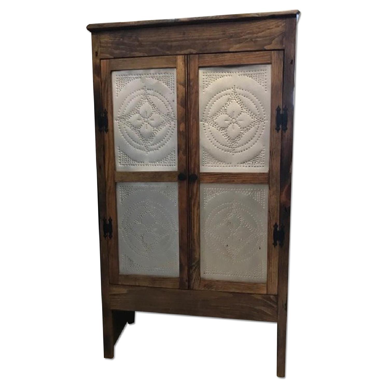 Reclaimed Pine & Tin Paneled Cabinet