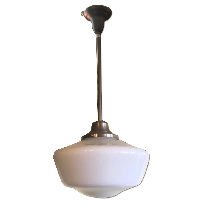 Image of: Rejuvenation Classic Schoolhouse Brushed Nickel Pendant Light W Opal White Glass Shade Aptdeco