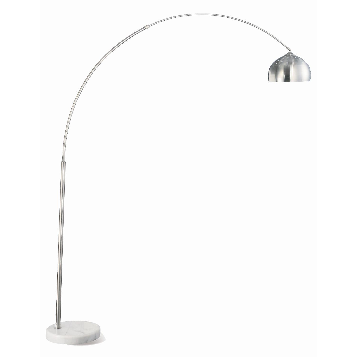 Contemporary Arched Lamp in Chrome Finish with Brushed Steel and Marble Base - image-0