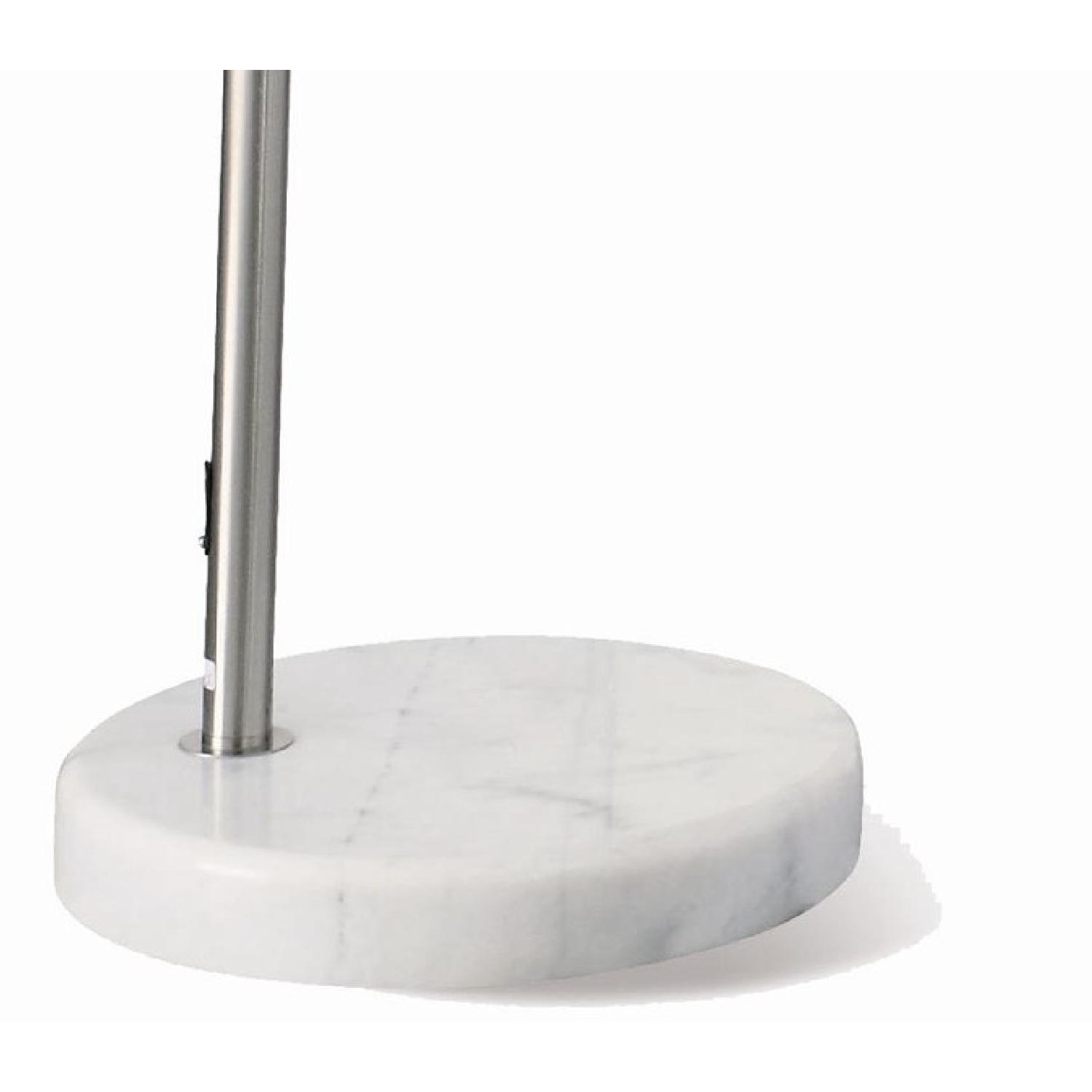 Contemporary Arched Lamp in Chrome Finish with Brushed Steel and Marble Base - image-1