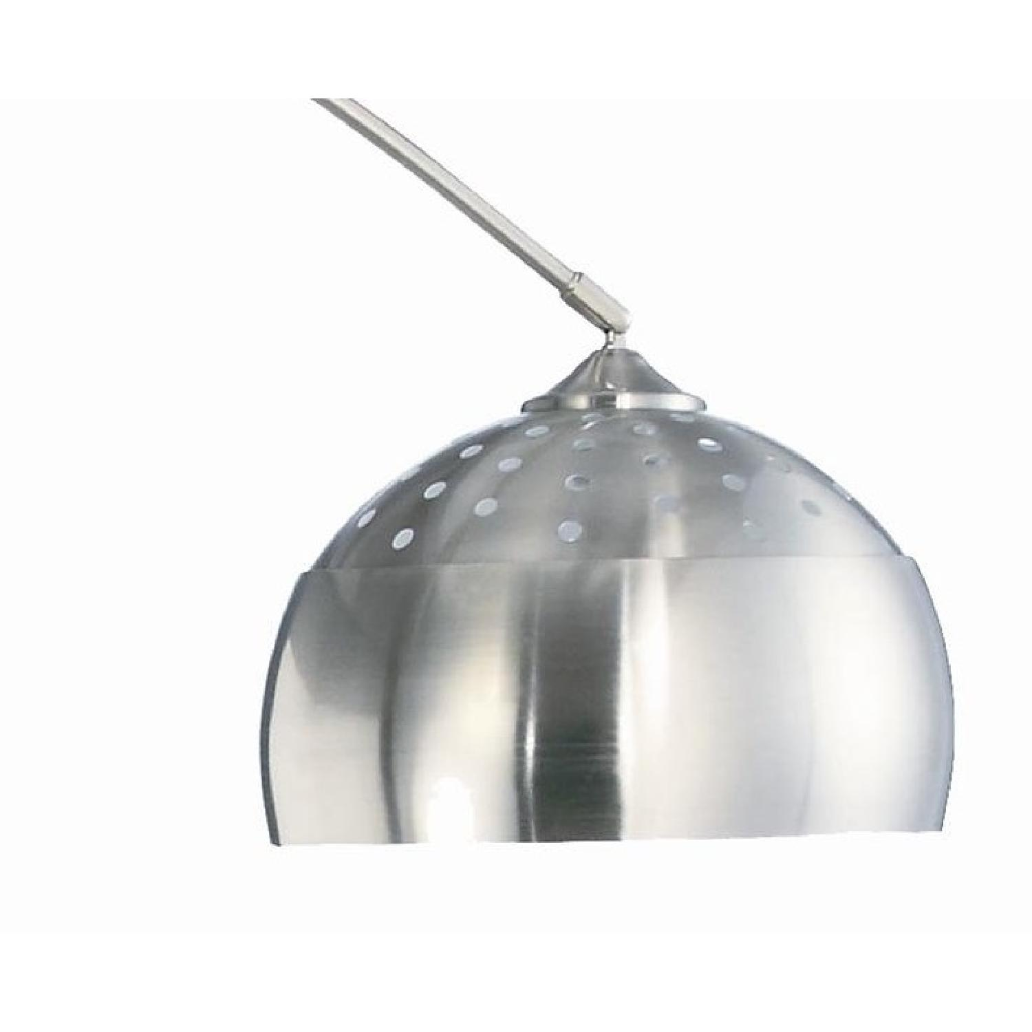 Contemporary Arched Lamp in Chrome Finish with Brushed Steel and Marble Base - image-2