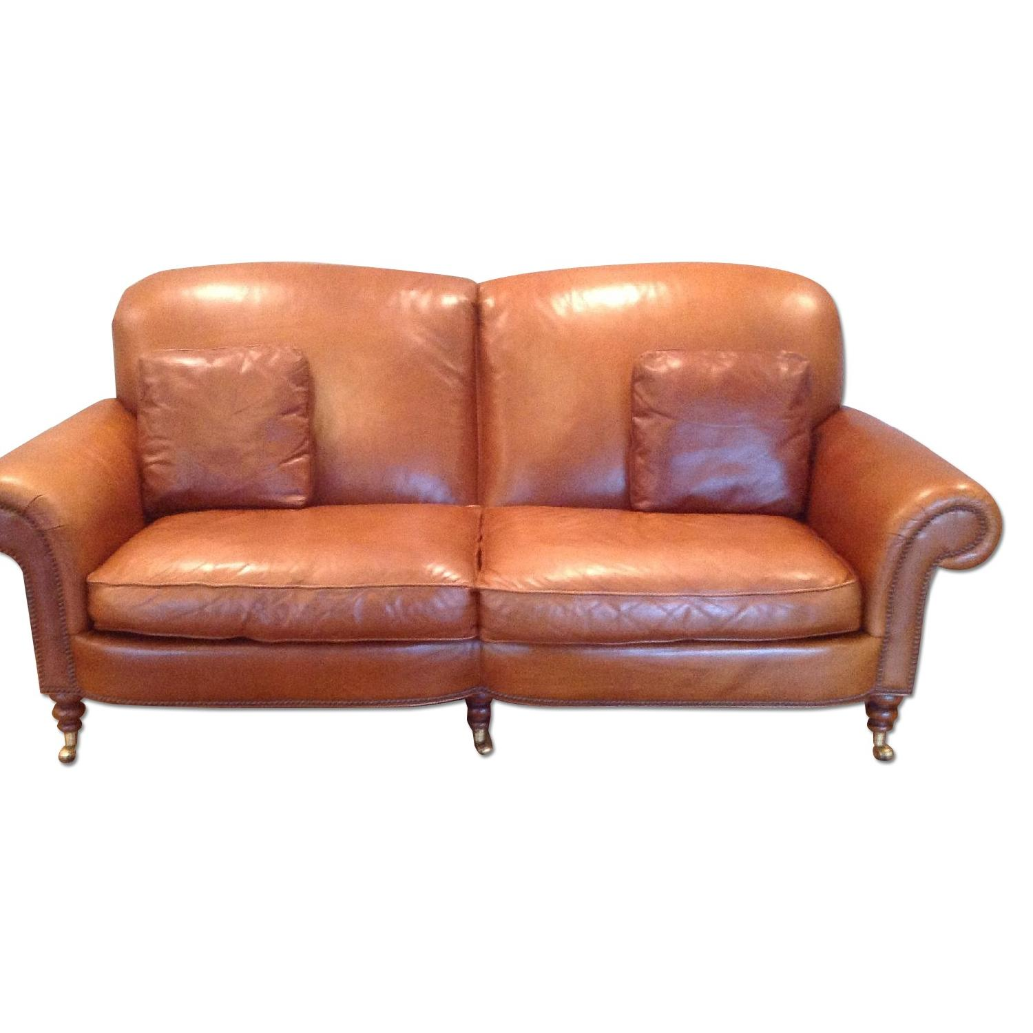 Hickory Chair Brown Leather Sofa