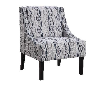Upholstered Tight Back Accent Chair in Light Blue patterned