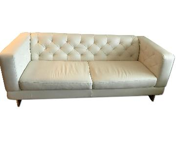 White Leather Sofa + Chair & Ottoman
