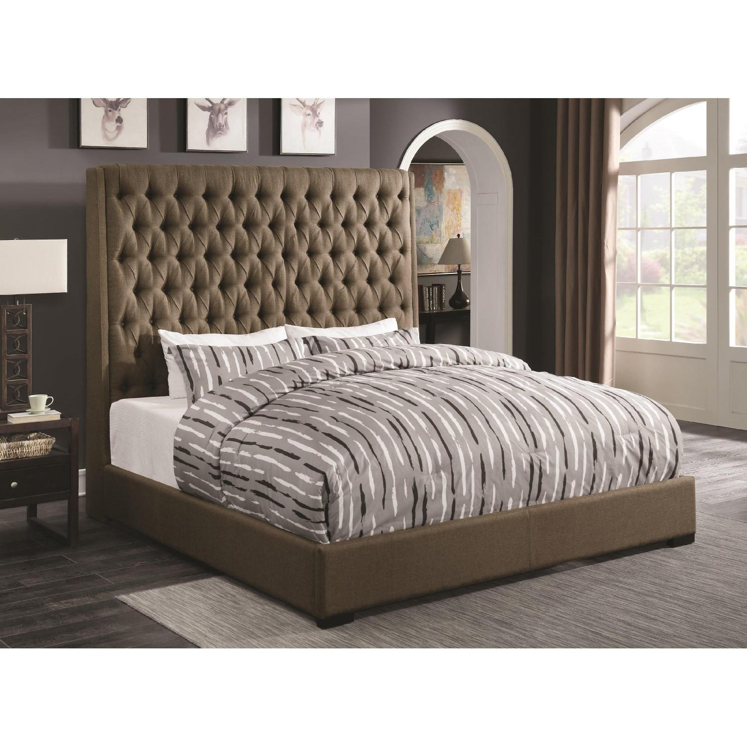 Modern Queen Bed In Brown Fabric W Extra Tall Button Tufted Headboard In Grey Fabric Upholstery Aptdeco