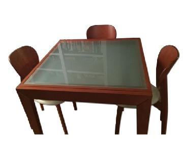 Calligaris Glass & Wood Extendable Dining w/ 4 Leather & Woo