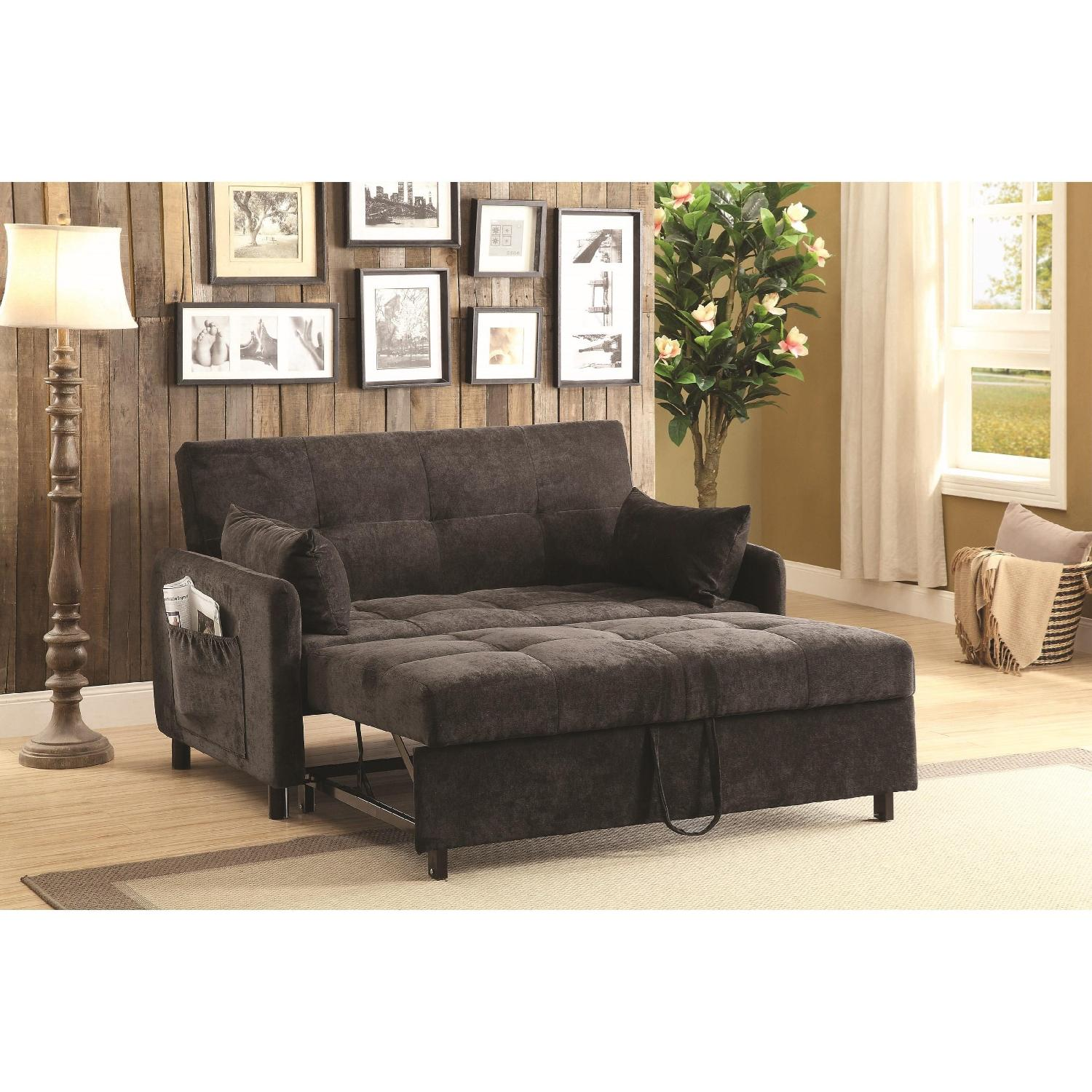 Excellent Sofabed Upholstered In Dark Brown Fabric Pull Out Sleeper Unemploymentrelief Wooden Chair Designs For Living Room Unemploymentrelieforg