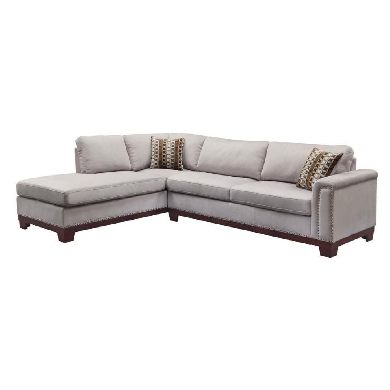 Sectional Sofa w/ Reversible Chaise in Blue-Grey Soft Velvet