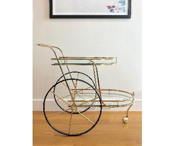 Mid-Century Vintage Brass/Glass Hollywood Regency Bar Cart