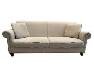 Oatmeal Linen Sofa w/ Nailhead Trim Detail