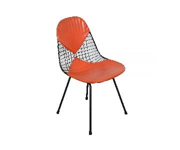 Herman Miller Venice, Ca. Eames Wire Chair w/ Orange Bikini Seat Cover
