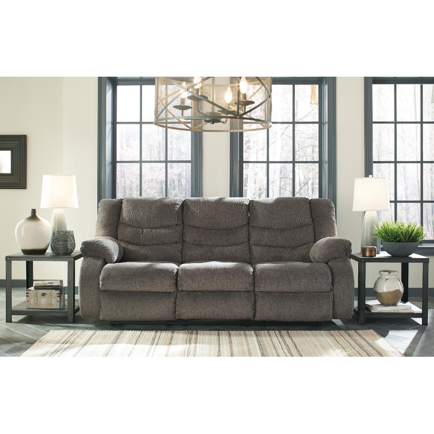... Ashley\u0027s Tulen Contemporary Reclining Sofa in Fabric Gray-3 ...  sc 1 st  AptDeco & Ashley\u0027s Tulen Contemporary Reclining Sofa in Fabric - AptDeco islam-shia.org