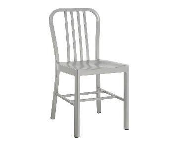 Metal Bistro Dining Chair w/ Slatted Back & Saddle Shaped Seating