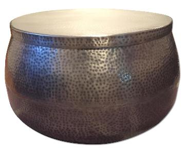 Gray Hammered Metal Hollow Drum Table