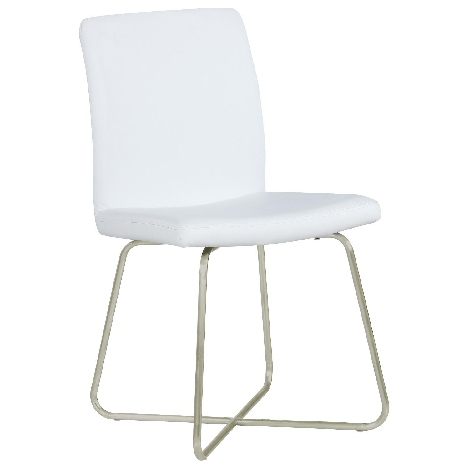 Modern Dining Chair w/ Metal Butterfly Base & White Leathere