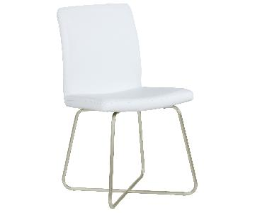 Modern Dining Chair w/ Metal Butterfly Base & White Leatherette Seat & Back Cushions
