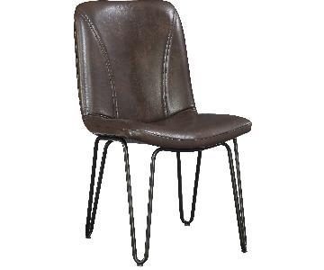 Retro Style Dining Chair in Dark Brown Leatherette Upholstery & Gunmetal Metal Legs