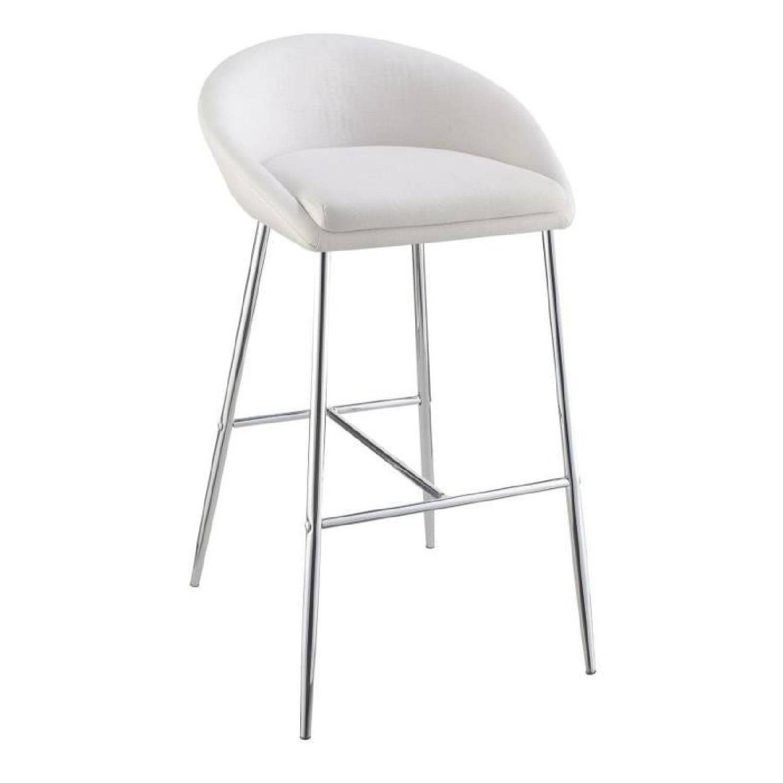 Modern Barstool In White Woven Fabric W Chrome Metal