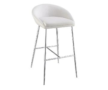 Modern Barstool in White Woven Fabric w/ Chrome Metal Base