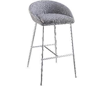 Modern Barstool in Grey Woven Fabric w/ Chrome Metal Base