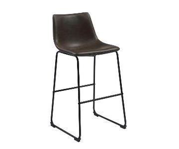 Retro Style Barstool in Brown Leatherette w/ Black Metal Fra