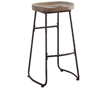 Retro Barstool in Drift Wood Style Saddle Seat & Dark Bronze Color Metal Legs