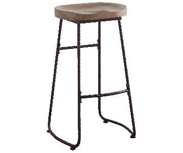 Retro Barstool in Drift Wood Style Saddle Seat & Dark Bronze