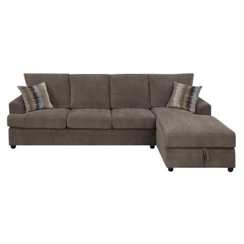 Sleeper Sectional In Brown Velvet Fabric W/ Memory Foam Pad U0026 Storage Chaise