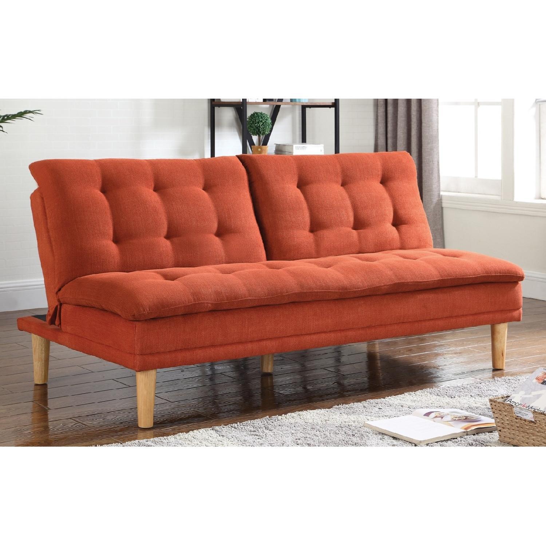 Modern Convertible Sofa Bed in Orange Woven Fabric w AptDeco