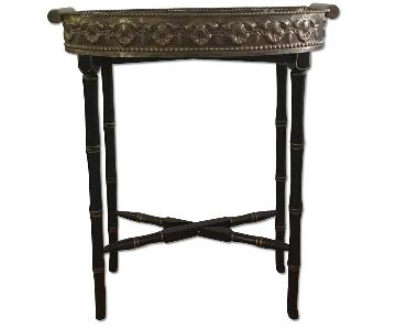 Antique Metal Decorative Tray Side Table