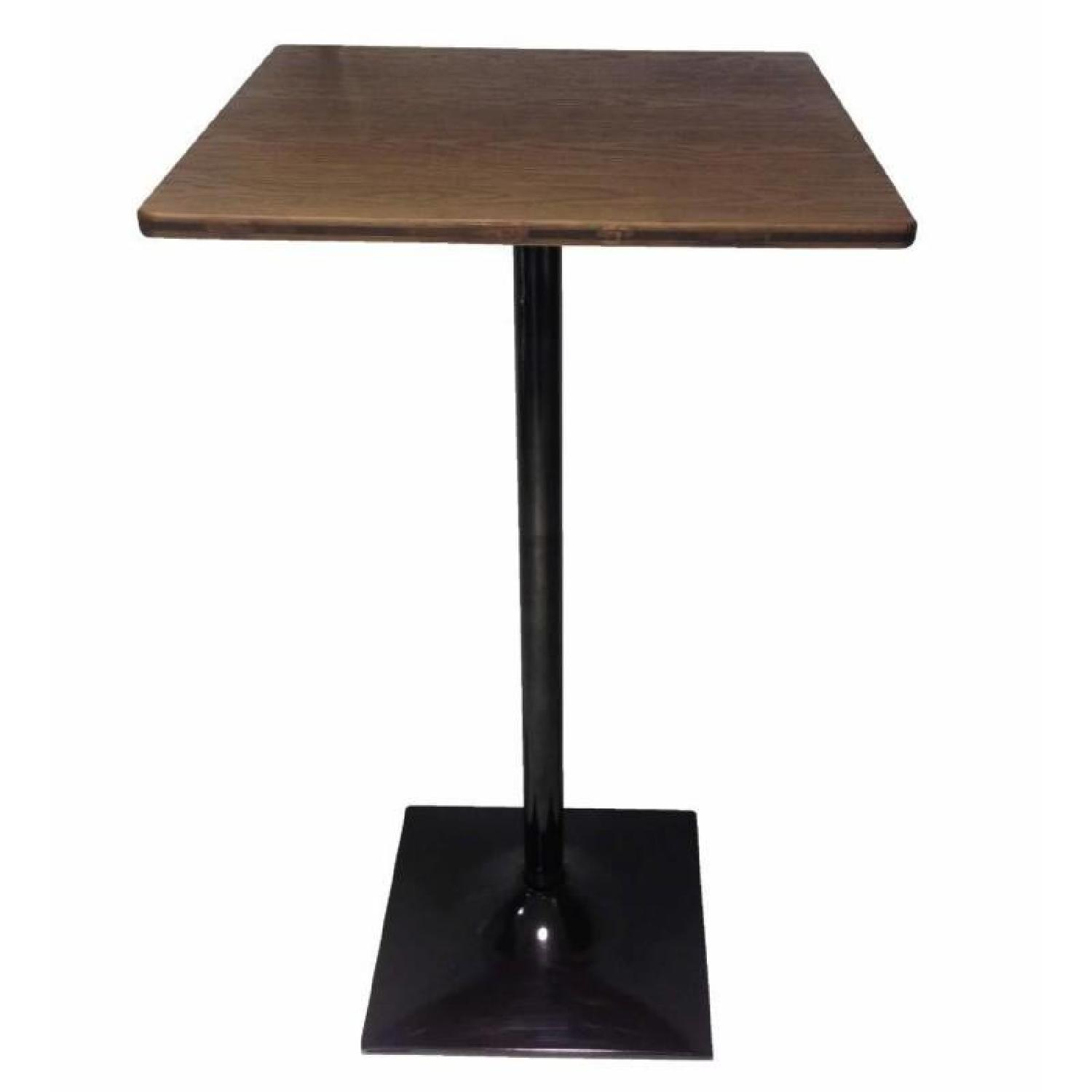 Bar Table w/ Solid Bamboo Top Finished in Dark Elm Metal Base Finished in Matte Black