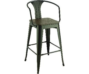 Bar Chair w/ Solid Bamboo Seat in Dark Elm Finish & Metal Frame in Matte Black