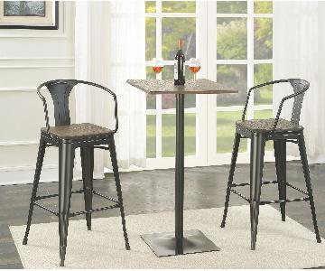 3-Piece Bar.Dining Set in Solid Wood Bamboo in Dark Elm Finish & Black Metal Frame