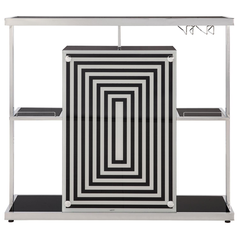 Modern Bar Unit w/ Black Tempered Glass Top & Chrome Frame