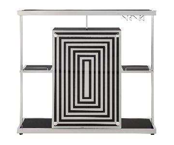 Modern Bar Unit w/ Black Tempered Glass Top & Chrome Frame