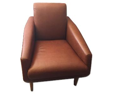 West Elm Natural Leather Bruno Armchair in Nutmeg Color