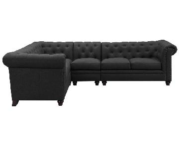 Chesterfield Style Sectional Sofa in Dark Grey Linen Blend Fabric Featuring Feather Down Filled Cushions