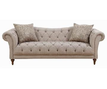 Mid-Century Style Light Brown Fabric Sofa w/ Button-Tufted D