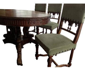 Bretagne French Antique Carved Wood Dining Room Table